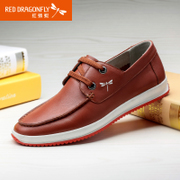 Red Dragonfly leather men's shoes, spring 2015 new authentic fashion leisure top layer leather strap men's shoes
