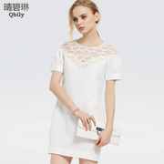 Fine bi Linda 2015 new spring/summer women's wear a pencil skirt round neck puff sleeve dresses with skirts beaded Korean lace