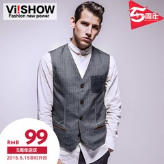 Viishow men's vests spring 2015 new v neck striped men's vest men popular