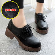 2015 New England winter and cashmere coarse with thick-soled shoes retro woman with Martin shoes strap platform shoes