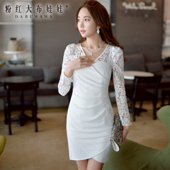 Long sleeve dress big pink doll temperament 2015 summer new style lace stitching slim dress