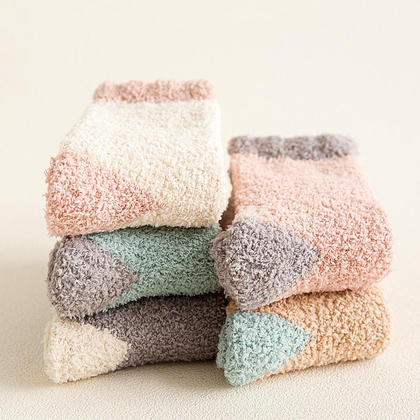 毛巾袜女珊瑚绒冬季保暖加厚冬天睡觉可爱袜子中筒袜睡眠袜月子袜