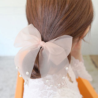 Know Connie hair accessories Korean version of sweet lace Pearl rabbit ears oversized Butterfly hair tie band temperament first rope