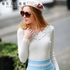 Sweater girls pink dolls in late 2015 Couture autumn new sweater white slim sweater sweater