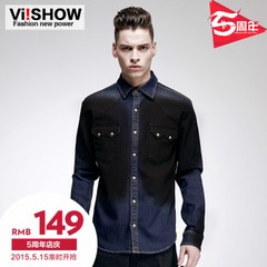 Viishow2015 spring and autumn new shirts male Korean version of dark denim shirt slim fit denim shirt Joker