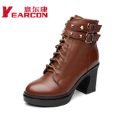 Welcome new leather shoes 2015 winter Europe and heavy boots with side zipper short tube rivet Martin woman