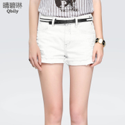 Holes washed denim shorts women clear BI-Lin Xia 2015 new slim solid color slimming high waist wide leg pants