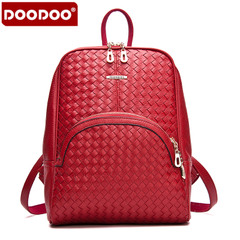 Doodoo casual knit backpack girl Korean version flows colleges knapsack wind the streets Pu Pi Qiu handbag bag