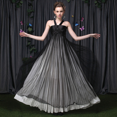 Sexy strapless black and white dress straps pleated ultra elegant celebrity dresses high waist long spiky dress 9004