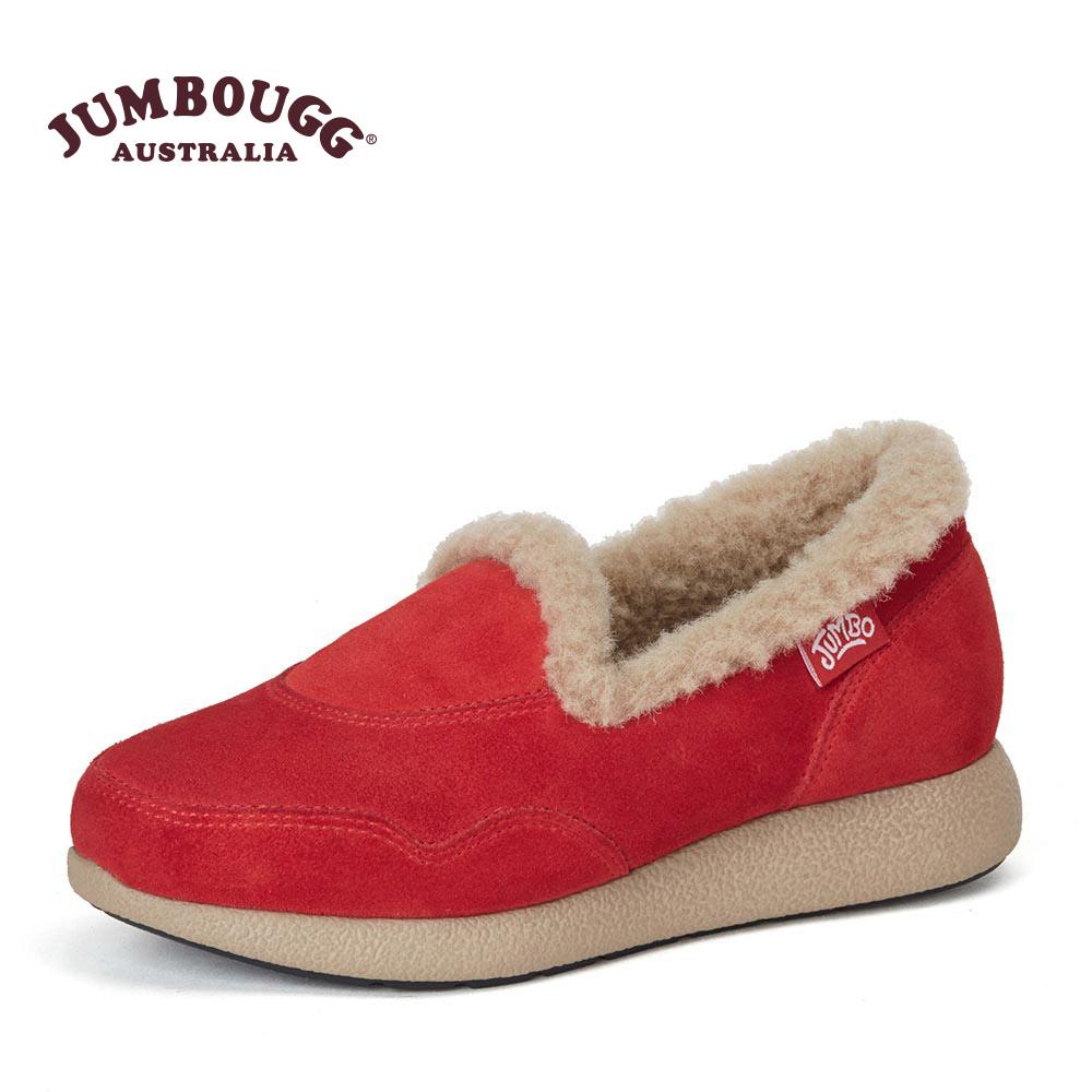 JUMBOUGG冬季新款羊毛内里休闲低帮女保暖平底鞋7101