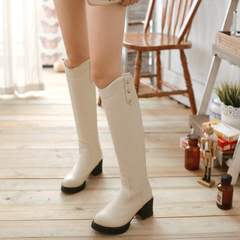 With 2015 winter boots women's Chunky heels high boots women sleeve knee-boots with round head rivet waterproof boots