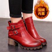 2015 winter New England plus velvet plus coarse cotton women's boots boots boots belt buckle with round head with short tube surge boots
