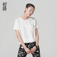 初语文艺休闲个性圆领短袖T恤女夏 宽松上衣字母体恤25-29周岁