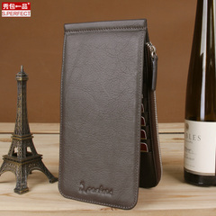 Show bag wallet men vertical wallets multifunctional leather zip around wallet clutch bag wallet card package flows