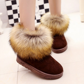 New 2015 plush and velvet padded shoes winter snow boots women short boots Nubuck shoes of students by the end of the tide