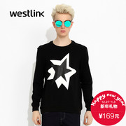 Westlink/West fall 2015 new leisure long sleeve black and white printing form-fitting men's Turtleneck Sweater