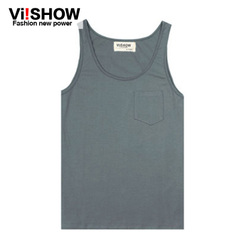 Viishow2015 new round collar cotton shirt City boy loose leisure youth solid color sweat vest