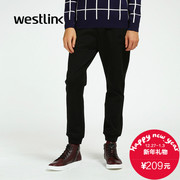 Meet 2015 winter new Westlink/West European and American men's Joker black rope loose health and leisure pants