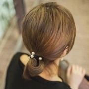 Know Richie new stylish hair accessories-faux pearl bracelet with ring rope band high elastic hair band