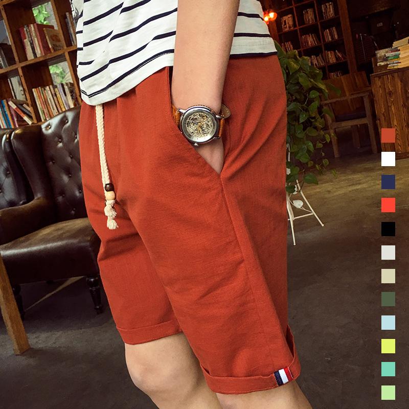 夏季新款运动短裤男士休闲夏天纯色韩版修身五分中裤沙滩裤子男潮