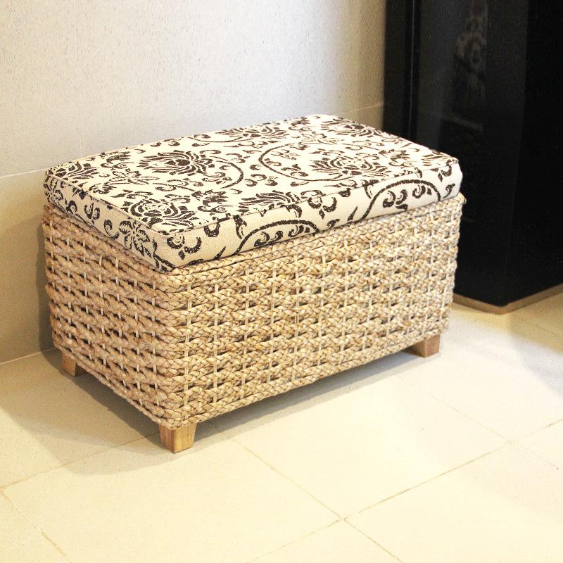 门厅鞋凳可坐人草编收纳储物换鞋沙发坐凳子儿童玩具箱搁脚沙发凳