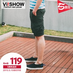Viishow2015 fashion new men's shorts men's casual straight leg washed shorts