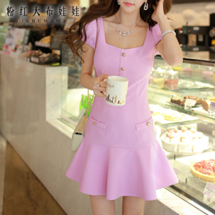 2015 doll summer dress pink new style women's diamond neck short sleeves fishtail dress