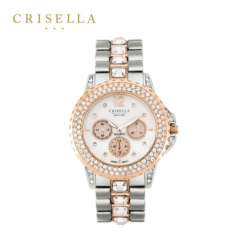 Crisella卡斯丽优雅镶钻石英女表 时尚水晶金属表带指针欧美腕表