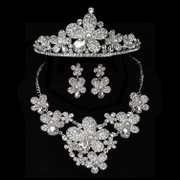 Shi Huanqi T103 tiara necklace wedding jewelry bride elegant beaded jewelry sets accessories three-set
