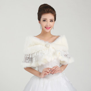 Honey marriage accessories wedding dress shawls long strips of thickened woolly shawls to keep warm shawl, white PJ013