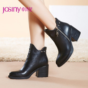 Zhuo Shini 2014 new simple boots side zipper short tube Martin winter boots women high heel boots 144575844