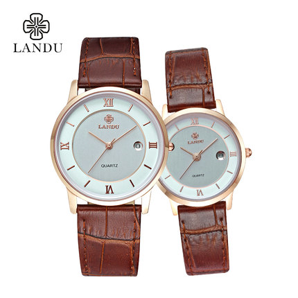 Authentic Lando leisure calendar thin waterproof men watch male watch really belt Ms. female form quartz couple