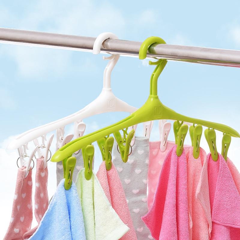 日本8头晾衣架 塑料晒衣架 晾晒架  防风衣架 防滑内衣袜子晾晒夹