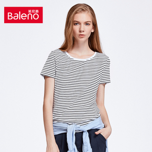 Baleno/班尼路 休闲潮流春夏打底衫上衣女 圆领黑白条纹短袖T恤女