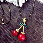 Good Korea temperament best matching decoration ornament ornaments red cherry necklace trend long sweater chain bag-mail
