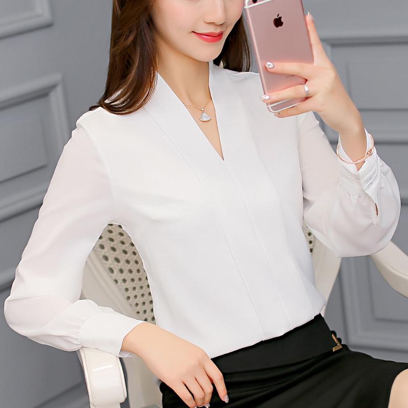 彩黛妃2017秋冬新款韩版修身百搭女装打底长袖衬衫时尚休闲雪纺衫