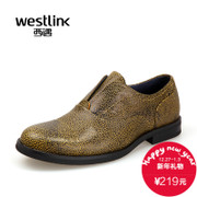 2015 West autumn new style fashion leisure personality in Europe and America no-tie round head low cut top layer leather men's shoes