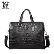 Wanlima/new man bag leather crocodile pattern around 2015 business Briefcase shoulder bag