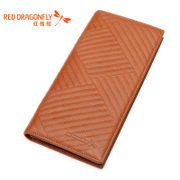 Authentic men's long red Dragonfly wallet new counters more screens first layer leather business card Pack man