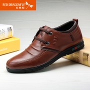 Red Dragonfly leather men's shoe spring 2015 new authentic Korean fashion comfort strap fashion men's shoes
