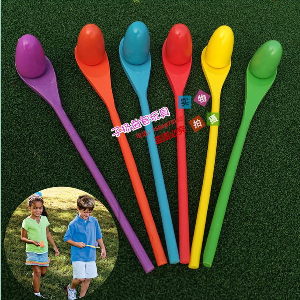 幼儿园儿童平衡棒木勺托球 早教户外感统训练游戏玩具 木质托蛋