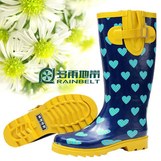 RAINBELT rain-belt Korean fashion Lady boots women's tall boots blue love water jacket