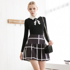 Elegant retro Plaid bow British Academy sweater + a-Tutu skirt 2 piece set 9964/9192