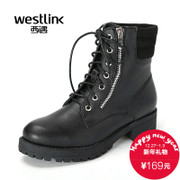 Westlink/West New 2015 winter tide of crude with Martin boots with side zipper and velvet women ankle boots SZ