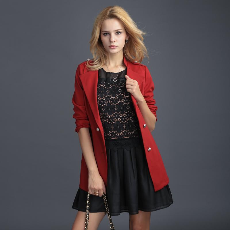 单上衣早秋红色长袖宽松短外套休闲外套 DA072YS