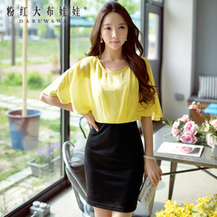 Dresses and skirts in summer 2015 new girls pink doll chiffon slim colour matching quality bag hip dress