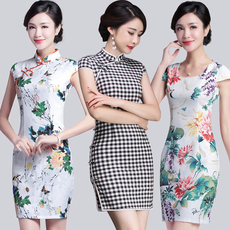 旗袍改良短款 复古立领格子短袖旗袍连衣裙
