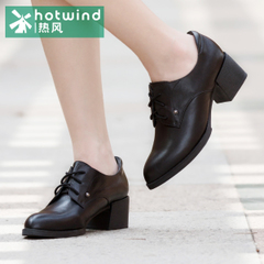 Hot shoe lace tip with chunky heels black leather shoes casual shoes girls women 71H5740