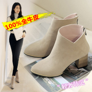 Korean version of the 2015 fall/winter new matte black real leather thick boots pointed toes high heel fashion with Martin gray women ankle boots