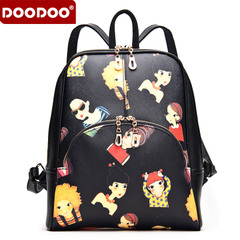 Doodoo leisure shoulder bags backpack girl Korean version flows Institute wind printing autumn Pu leather bag handbag bag